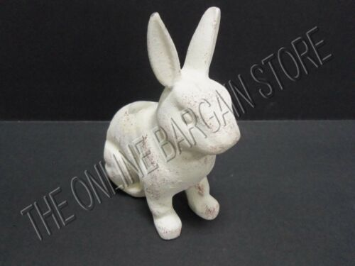 2 Pottery Barn Vintage Rustic Distressed Easter Bunny Rabbit Taper Candle Holder