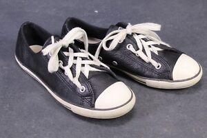 CB487-Converse-All-Star-Chucks-Dainty-OX-Low-Top-Sneaker-Gr-36-Leder-schwarz