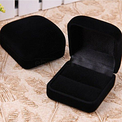 New Black Square Velvet Ring Jewelry Valentine Best Gift Package Box 5cmx5.5cm