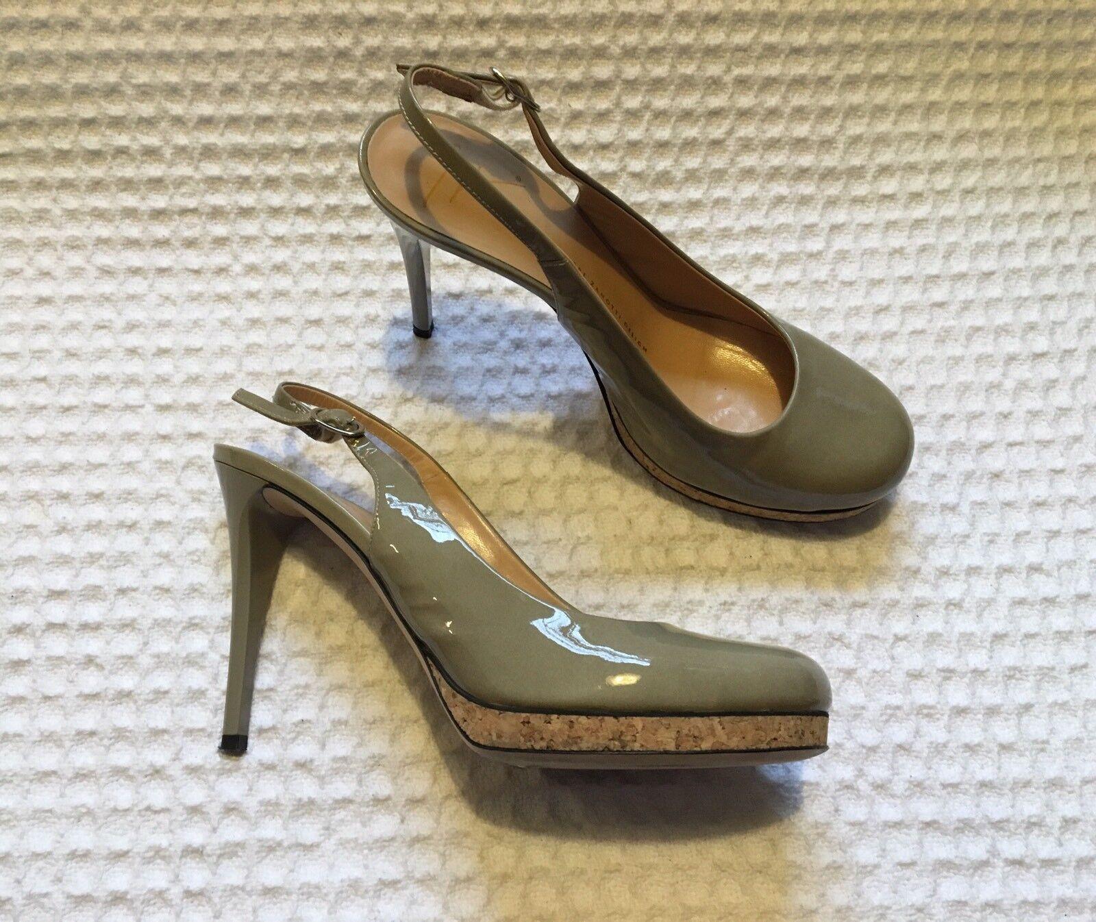 GIUSEPPE ZANOTTI Sminny 90 Patent Leather High Heels Slingback Sandals 38 8 Nude