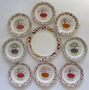 Image is loading GIEN-France-LES-TARTES-Dessert-Plates-&-Serving- & GIEN France LES TARTES Dessert Plates u0026 Serving Cake Plate Set 9 | eBay
