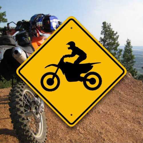 Dirt Bike Crossing Sign Motocross Enduro Trail Marker Fun Motorcycle Gifts
