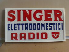 INSEGNA RADIO TV SINGER OLD SIGN CARTELLO PUBLICITA' PROMO MADE IN ITALY