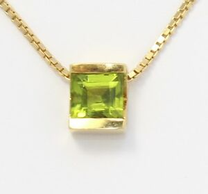 18k-Yellow-Gold-Princess-Cut-Peridot-Solitaire-Necklace-with-Box-Chain