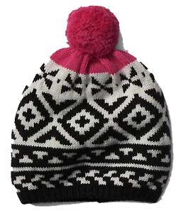 Gap NWT Black White Pink Fair Isle Pom Pom Merino Wool Blend Winter ... 53c53a9d4260