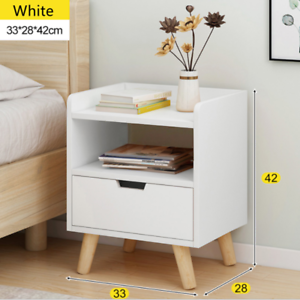 Wooden Bedside Table with Drawer Nightstand Cabinet Storage Bedroom Furniture