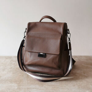 Anti-Theft-Convertible-Real-Leather-Backpack-Travel-Bag-Purse-Shoulder-Bag