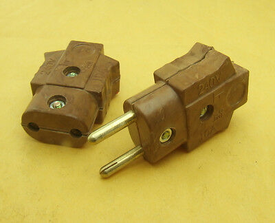 2 set Copper 240V 10A bakelite plug male / female power connector Stage Lighting