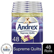 48 Rolls Andrex Toilet Roll Supreme Quilts Fragrance-Free 4 Ply Toilet Paper