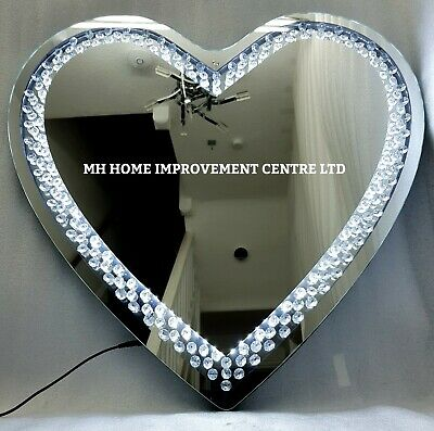 Led Light Up Love Heart Shaped Sparkly Floating Crystal Large Wall Mirror 70cm Ebay