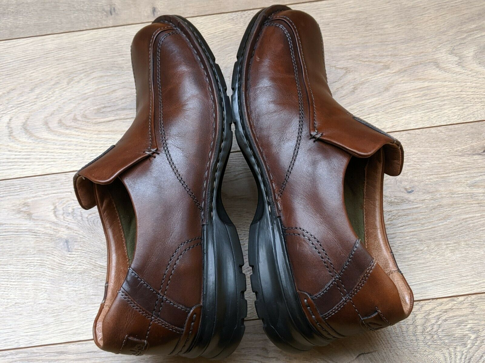Men's Clarks Escalade Auburn Brown Leather Casual Dress Slip-On Loafers US 8.5