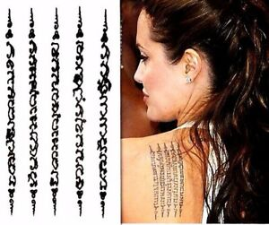 Tattoo temporary 5 rows amulet sak yant Thai body art imitate tattoo ...