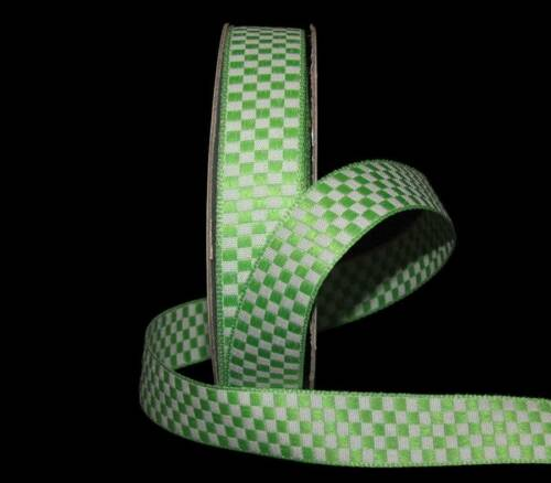 "5 Yards Green White Checked Gingham Woven Jacquard Ribbon 5//8/""W"