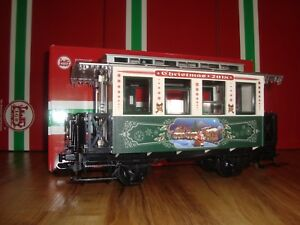 LGB-36018-GREEN-amp-WHITE-2-AXLE-DATED-2018-CHRISTMAS-PASSENGER-CAR-NEW-IN-BOX