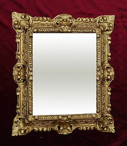 Espejo-de-Pared-45x38cm-antigua-Barroco-Replicas-rectangular-en-dorado-345-12
