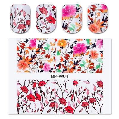 BORN PRETTY Nail Art Water Decals Transfer Sticker Pretty Flower Decoration W04