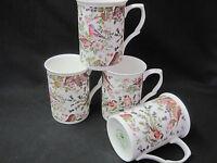 Birds Chintz Set Of 4 English Made Fine Bone China Mugs, Adderley Ceramics