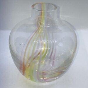 Vintage Caithness Oban Art Glass Orange Yellow Amber Pink White Swirl Round Vase