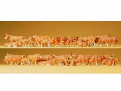Preiser 14409 Kühe braun 30 Figuren Kuhherde Bauernhof rotbunt Kuh H0 Neu
