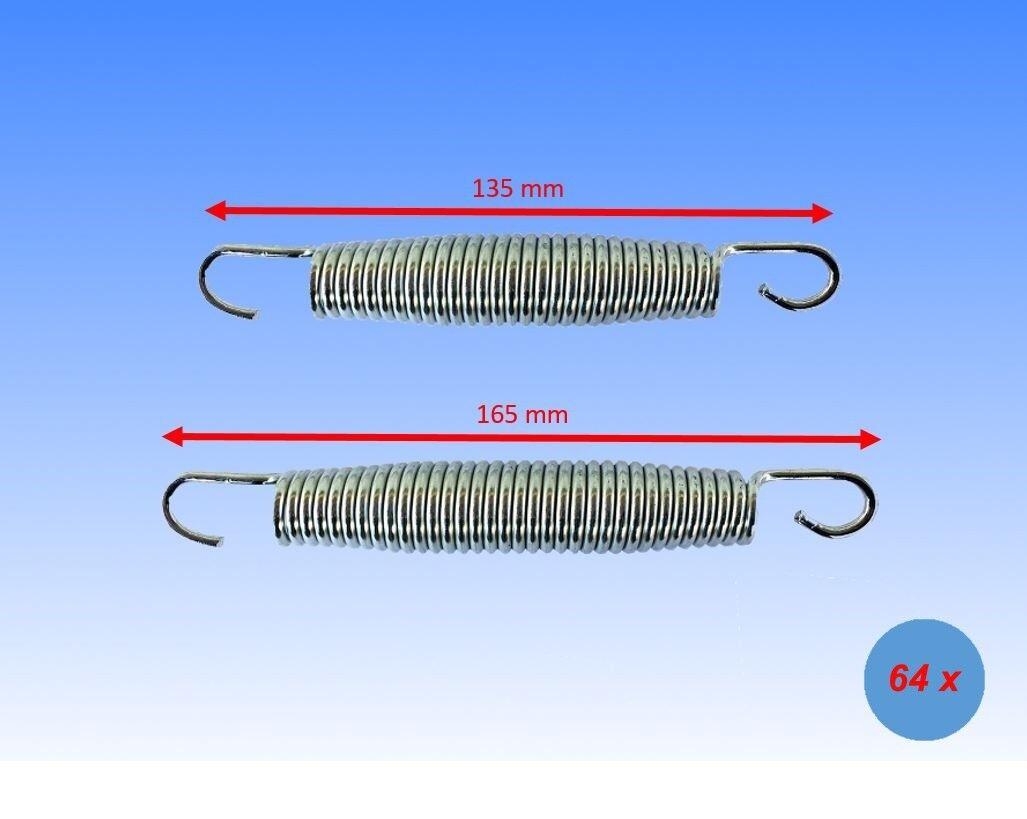64x Feder 16,5 / 13,5 cm Sprungfeder Zug-/ Stahlfeder für Trampolin Sprungmatte