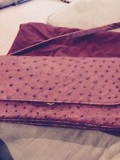 Genuine Ostrich Leather In Red Burgundy Clutch/handBag Made In Italy New