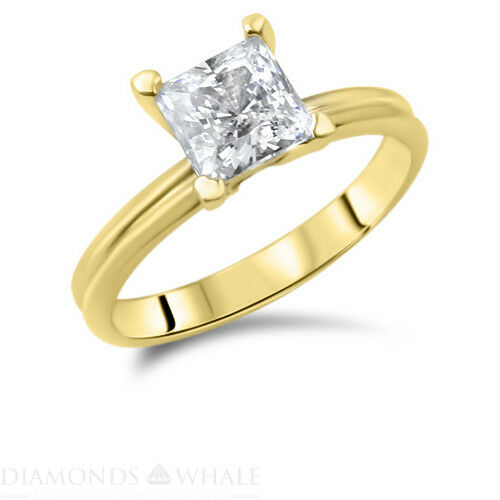 0.5 Carat Yellow gold 14K Diamond Ring Princess Cut SI1 F Wedding, Enhanced