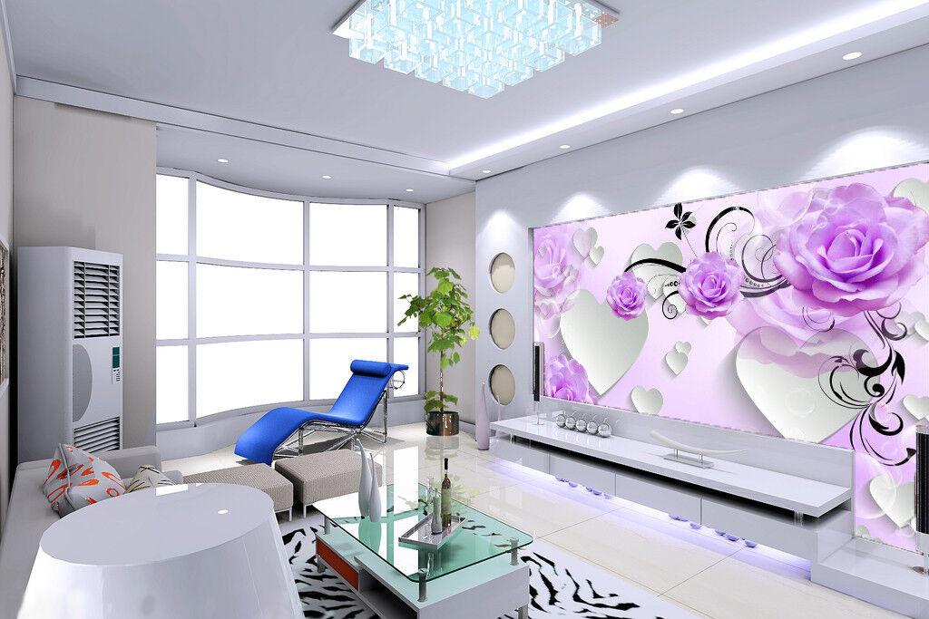 3D lila Flower Love 835 Wallpaper Mural Paper Wall Print Wallpaper Murals UK