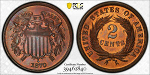 1870-2C-Two-Cent-Piece-PCGS-PR-64-RB-Proof-Red-Brown-Low-Mintage-Type