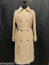 Women's Vintage Beige Wool Cashmere Overcoat Size 16 MV5545