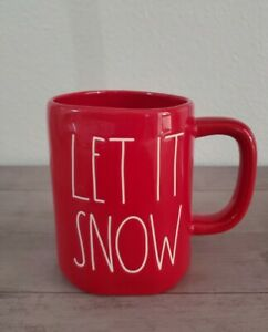 NEW-RAE-DUNN-by-Magenta-Red-LET-IT-SNOW-Coffee-Tea-Mug-Farmhouse-Holiday-Decor