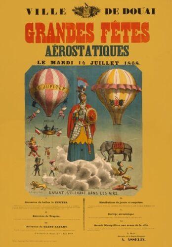 Av50 Vintage 1868 Grandes Fetes Balão Propaganda Cartaz re-imprimir a1//a2//a3