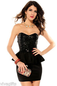 Ladies-Sequin-Black-Formal-Cocktail-Dinner-Dress