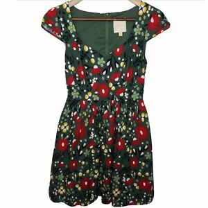 Mod-Cloth-Fit-amp-Flare-Dress-Green-Red-Poppies-Floral-Cap-Sleeve-Sz-XS-Sweetheart