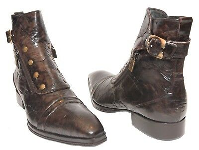 1d4ab37391cc0 Details about Jo Ghost 804 Italian mens brown ankle boots with buckle, 2  zippers, buttons