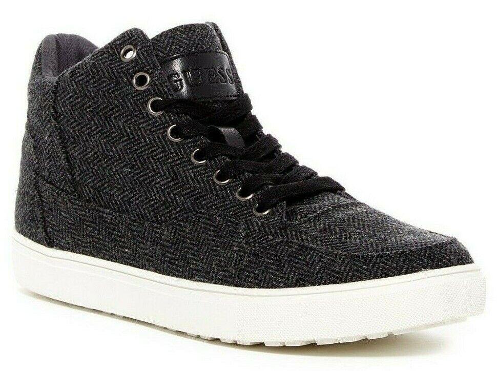 GUESS Towman High-Top Fashion Sneakers Men's shoes Herringbone Black Size 9