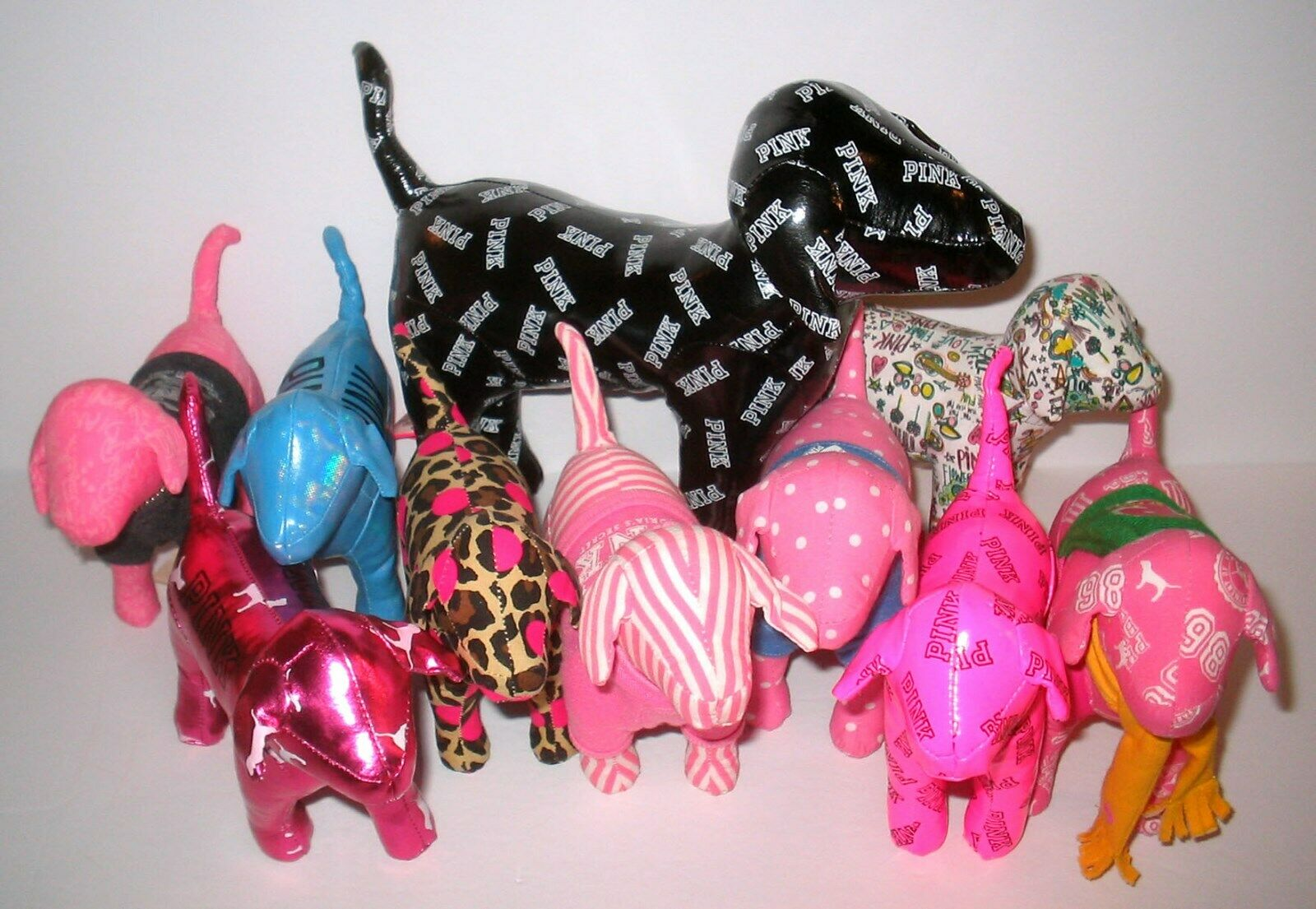 Victoria's Secret Plush Pink Dogs BUNDLED MIXED LOT
