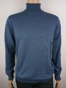 Men-039-s-Nuevo-Ex-tienda-rollo-de-algodon-Tortuga-Neck-Jumper-Tamano-Grande-42-034-Pecho-Azul
