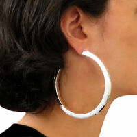 Large Hoops 925 Sterling Silver Square Edge Hoop Earrings