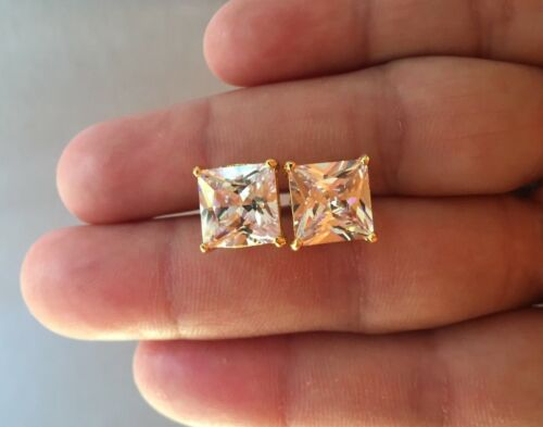 Mens Ladies 9.52 ct Lab Diamond 18K Gold Filled Screw Back Stud Earrings 12mm