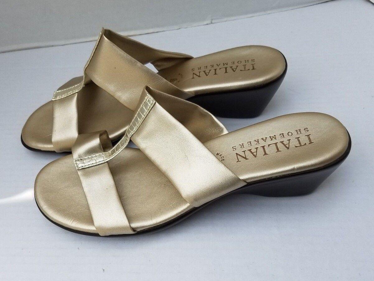 NEU ITALIAN SHOEMAKER Gold Made in  Sandales Wedge 8 Evening Day Slip On