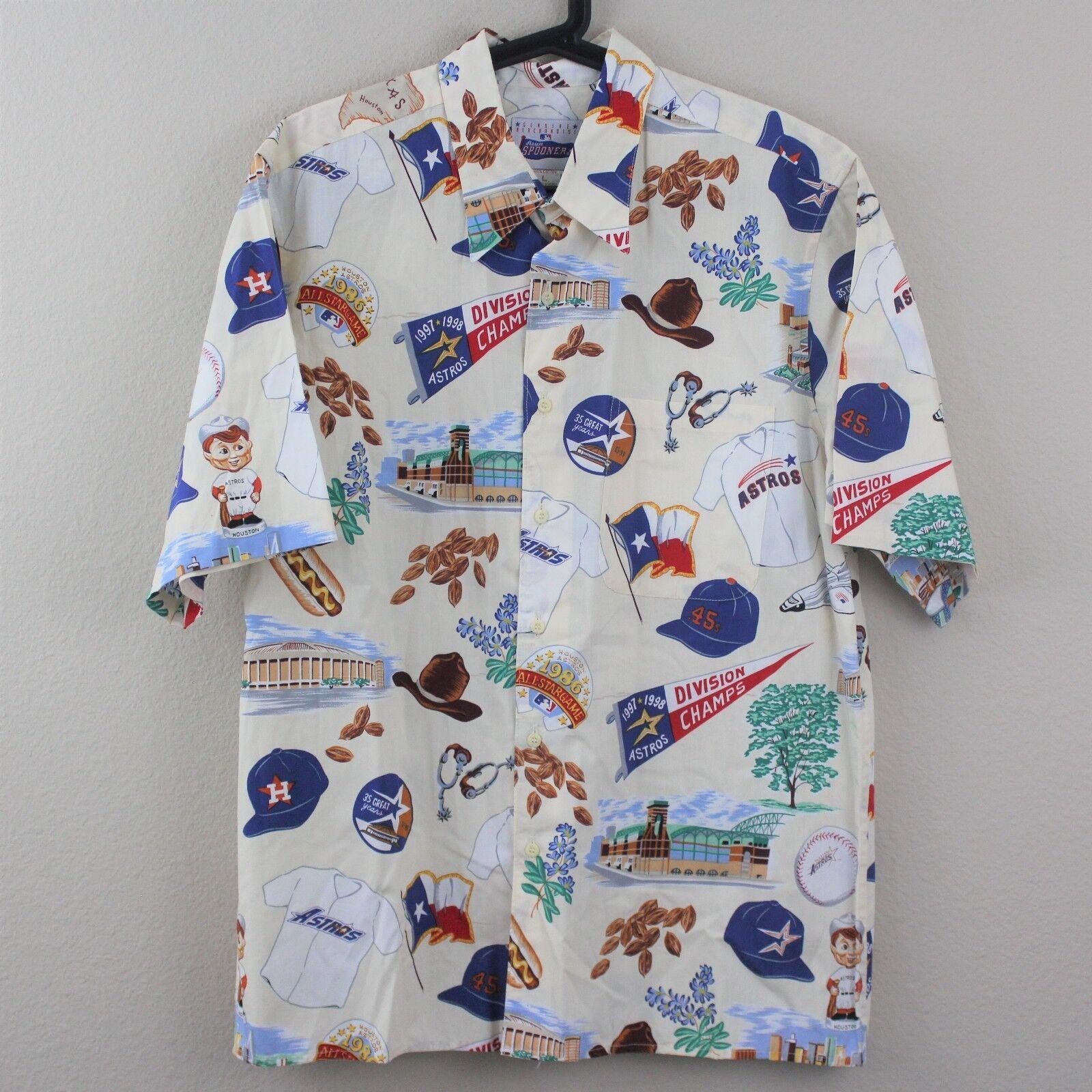 REYN SPOONER RARE History Of Astros Hawaiian Button Up Shirt Mens Large Q110