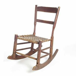 Ordinaire Image Is Loading Antique Rocking Chair Child Primitive Wood Caned Seat