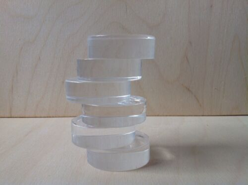Acrylic Crafting Stamping Blocks 75mm Round 15mm Thick,made In The Uk,in Stock.