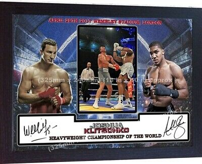 ANTHONY JOSHUA V KLITSCHKO Wembley Framed Canvas Print Signed Great