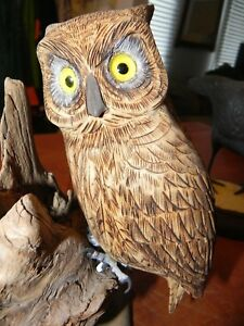 Hand Carved /& Painted Wooden FolkArt Owl