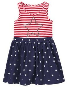 GYMBOREE-RED-WHITE-amp-CUTE-RED-STRIPED-amp-BLUE-COLORBLOCK-w-STARS-DRESS-4-7-8-NWT