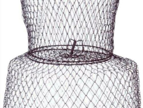 Metal Wire Keeper Net Live Bait Basket Cage Collapsible Fish Fishing Tackle