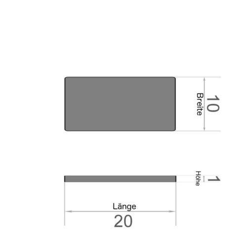 Supermagnet N38 20er Set Quadermagnet 20x10x1mm selbstklebend Neodym vernickelt