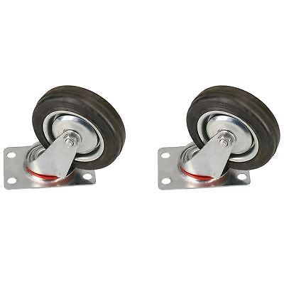 """4"""" / 100mm Swivel Castor Rubber Wheel Trolley Caster Furniture Movers 2 Pack Erfrischung"""