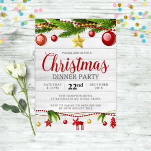 Christmas Invitation.Details About Christmas Invitation Personalised Party Supplies Custom Invite Xmas Gold
